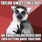 Taylor Swift is never ever ever getting back together with Chill Out Lemur | TAYLOR SWIFT, CHILL OUT. WE KNOW YOU ARE NEVER EVER EVER GETTING BACK TOGETHER. | image tagged in memes,chill out lemur,taylor swift,never,singer,breakup | made w/ Imgflip meme maker