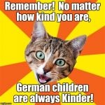 Kinder | Remember!  No matter how kind you are, German children are always Kinder! | image tagged in memes,bad advice cat,german puns,bad puns,puns,cat memes | made w/ Imgflip meme maker