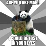 Pickup Line Panda Meme | ARE YOU ARE MAP? I COULD BE LOST IN YOUR EYES | image tagged in memes,pickup line panda | made w/ Imgflip meme maker