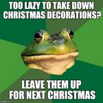 Foul Bachelor Frog Meme | TOO LAZY TO TAKE DOWN CHRISTMAS DECORATIONS? LEAVE THEM UP FOR NEXT CHRISTMAS | image tagged in memes,foul bachelor frog | made w/ Imgflip meme maker