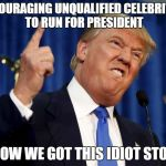 Donald Trump mad | ENCOURAGING UNQUALIFIED CELEBRITIES TO RUN FOR PRESIDENT IS HOW WE GOT THIS IDIOT STOP IT | image tagged in donald trump mad | made w/ Imgflip meme maker