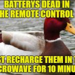 Malicious Advise Mallard-Not advisable  | BATTERYS DEAD IN THE REMOTE CONTROL ? JUST RECHARGE THEM IN THE MICROWAVE FOR 10 MINUTES | image tagged in memes,malicious advice mallard,battery malfunction | made w/ Imgflip meme maker