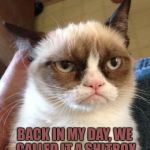 Grumpy Cat Reverse Meme | BACK IN MY DAY, WE CALLED IT A SHITBOX | image tagged in memes,grumpy cat reverse,grumpy cat | made w/ Imgflip meme maker
