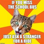 Bad Advice Cat Meme | IF YOU MISS THE SCHOOL BUS JUST ASK A STRANGER FOR A RIDE | image tagged in memes,bad advice cat,middle school | made w/ Imgflip meme maker