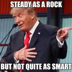 Trump Pointing Away | STEADY AS A ROCK BUT NOT QUITE AS SMART | image tagged in trump pointing away | made w/ Imgflip meme maker