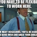 That Would Be Great Meme | YOU HAVE TO BE FLEXIBLE TO WORK HERE. ON MANY OCCASIONS, YOU'LL BE ASKED TO BEND OVER AND GRAB YOUR ANKLES. | image tagged in memes,that would be great | made w/ Imgflip meme maker