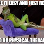 Sassy Iguana Meme | TAKE IT EASY AND JUST RELAX SAID NO PHYSICAL THERAPIST | image tagged in memes,sassy iguana | made w/ Imgflip meme maker