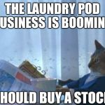 I Should Buy A Boat Cat Meme | THE LAUNDRY POD BUSINESS IS BOOMING I SHOULD BUY A STOCK | image tagged in memes,i should buy a boat cat | made w/ Imgflip meme maker