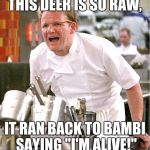 "Chef Gordon Ramsay Meme | THIS DEER IS SO RAW, IT RAN BACK TO BAMBI SAYING ""I'M ALIVE!"" 