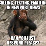 questioning monkey | CALLING, TEXTING, EMAILING IN NEWPORT NEWS CAN YOU JUST RESPOND PLEASE? | image tagged in questioning monkey | made w/ Imgflip meme maker