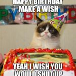 Grumpy cats birthday wish | HAPPY BIRTHDAY MAKE A WISH YEAH I WISH YOU WOULD SHUT UP | image tagged in memes,grumpy cat birthday,grumpy cat,shut up | made w/ Imgflip meme maker