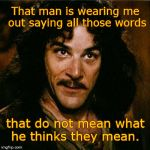 Inigo Montoya | That man is wearing me out saying all those words that do not mean what he thinks they mean. | image tagged in inigo montoya | made w/ Imgflip meme maker