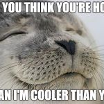 Satisfied Seal Meme | IF YOU THINK YOU'RE HOT THAN I'M COOLER THAN YOU | image tagged in memes,satisfied seal | made w/ Imgflip meme maker