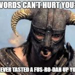 Dragonborn | WORDS CAN'T HURT YOU? YOU'VE NEVER TASTED A FUS-RO-DAH UP YOUR ARSE | image tagged in dragonborn | made w/ Imgflip meme maker
