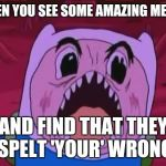 Finn The Human Meme | WHEN YOU SEE SOME AMAZING MEMES AND FIND THAT THEY SPELT 'YOUR' WRONG | image tagged in memes,finn the human | made w/ Imgflip meme maker