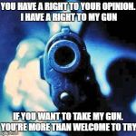 gun in face | YOU HAVE A RIGHT TO YOUR OPINION. I HAVE A RIGHT TO MY GUN IF YOU WANT TO TAKE MY GUN. YOU'RE MORE THAN WELCOME TO TRY | image tagged in gun in face,am i the only one around here,how tough are you | made w/ Imgflip meme maker