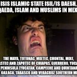 Oh No Meme | ISIS ISLAMIC STATE ISIL/IS DAESH, AL QAEDA, ISLAM AND MUSLIMS IN MEXICO THE MAYA, TOTONAC, MIXTEC, CHONTAL, MIXE, HUASTEC AND ZAPOTEC OF CHI | image tagged in memes,oh no | made w/ Imgflip meme maker