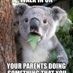 Surprised Koala Meme | WHEN YOU WALK IN ON YOUR PARENTS DOING SOMETHING THAT YOU HAVE NEVER SEEN BEFORE | image tagged in memes,surprised koala | made w/ Imgflip meme maker