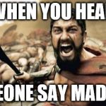 Sparta Leonidas Meme | WHEN YOU HEAR SOMEONE SAY MADNESS | image tagged in memes,sparta leonidas | made w/ Imgflip meme maker