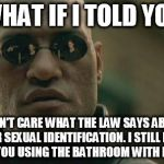 Matrix Morpheus Meme | WHAT IF I TOLD YOU I DON'T CARE WHAT THE LAW SAYS ABOUT YOUR SEXUAL IDENTIFICATION. I STILL DON'T WANT YOU USING THE BATHROOM WITH MY WIFE | image tagged in memes,matrix morpheus | made w/ Imgflip meme maker