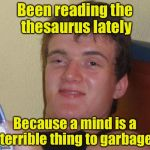 10 Guy Meme | Been reading the thesaurus lately Because a mind is a terrible thing to garbage | image tagged in memes,10 guy | made w/ Imgflip meme maker