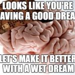 The Struggle of Sleep | LOOKS LIKE YOU'RE HAVING A GOOD DREAM LET'S MAKE IT BETTER WITH A WET DREAM | image tagged in memes,scumbag brain,wet dream,dream,sleep | made w/ Imgflip meme maker
