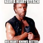 Chuck Norris Flex Meme | CHICK NORRIS WILL NEVER HAVE A HEART ATTACK HIS HEART KNOWS BETTER THAN TO ATTACK CHUCK NORRIS | image tagged in memes,chuck norris flex,chuck norris | made w/ Imgflip meme maker