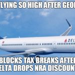 delta gets you there - without an ass kicking | DELTA  NOT FLYING SO HIGH AFTER GEORGIA SENATE BLOCKS TAX BREAKS AFTER DELTA DROPS NRA DISCOUNTS | image tagged in delta gets you there - without an ass kicking | made w/ Imgflip meme maker