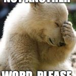 Facepalm Bear Meme | NOT ANOTHER WORD, PLEASE. | image tagged in memes,facepalm bear | made w/ Imgflip meme maker