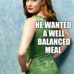 Amy Adams joke template  | WHY DID THE CANNIBAL EAT A TIGHT ROPE WALKER? HE WANTED A WELL BALANCED MEAL | image tagged in amy adams joke template,jbmemegeek,amy adams,cannibal,bad puns | made w/ Imgflip meme maker