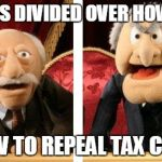 Muppet Critics Divided | DEMS DIVIDED OVER HOW TO HOW TO REPEAL TAX CUTS | image tagged in muppet critics divided | made w/ Imgflip meme maker