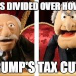 Muppet Critics Divided | DEMS DIVIDED OVER HOW TO TRUMP'S TAX CUTS | image tagged in muppet critics divided | made w/ Imgflip meme maker