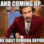 ron burgundy | AND COMING UP... THE DAILY REMORA REPORT | image tagged in ron burgundy | made w/ Imgflip meme maker