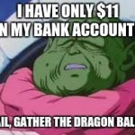 Super Kami Guru Allows This Meme | I HAVE ONLY $11 ON MY BANK ACCOUNT? NAIL, GATHER THE DRAGON BALLS | image tagged in memes,super kami guru allows this | made w/ Imgflip meme maker