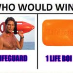 CONGRATULATIONS! You've been Hoffed.  | 1 LIFEGUARD 1 LIFE BOI | image tagged in who would win,david ha,the hoff,lifeguard,memes,funny memes | made w/ Imgflip meme maker