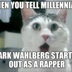 OMG Cat Meme | WHEN YOU TELL MILLENNIALS MARK WAHLBERG STARTED OUT AS A RAPPER | image tagged in memes,omg cat | made w/ Imgflip meme maker