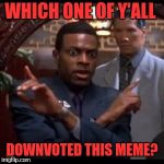 Chris Tucker - Which One Of Yall | WHICH ONE OF Y'ALL DOWNVOTED THIS MEME? | image tagged in chris tucker - which one of yall | made w/ Imgflip meme maker