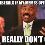 Steve Harvey Meme | SORRY LIBERALS IF MY MEMES OFFEND YOU BUT I REALLY DON'T CARE | image tagged in memes,steve harvey | made w/ Imgflip meme maker