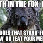 Angry Koala Meme | THE TH IN THE FOX  LOGO WHAT DOES THAT STAND  FOR TELL ME NOW  OR I EAT YOUR MEMES UP | image tagged in memes,angry koala,meme,koala,funny koala,fox logo | made w/ Imgflip meme maker