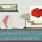 Foot Vs Lego | Lego Foot 1000 1 Lego used legos. Legos were spread around the floor | image tagged in pokemon battle | made w/ Imgflip meme maker