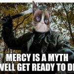 grumpy cat jason | MERCY IS A MYTH WELL GET READY TO DIE | image tagged in grumpy cat jason | made w/ Imgflip meme maker