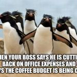 Penguin Gang Meme | WHEN YOUR BOSS SAYS HE IS CUTTING BACK ON OFFICE EXPENSES AND SAYS THE COFFEE BUDGET IS BEING CUT! | image tagged in memes,penguin gang | made w/ Imgflip meme maker