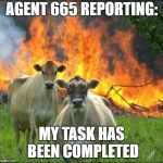 Evil Cows Meme | AGENT 665 REPORTING: MY TASK HAS BEEN COMPLETED | image tagged in memes,evil cows | made w/ Imgflip meme maker