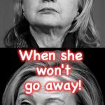 Hillary Winking | How can we 'miss' her?... When she won't go away! | image tagged in hillary winking | made w/ Imgflip meme maker
