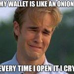 1990s First World Problems Meme | MY WALLET IS LIKE AN ONION EVERY TIME I OPEN IT I CRY | image tagged in memes,1990s first world problems | made w/ Imgflip meme maker