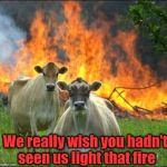 I won't tell! I swear!! | We really wish you hadn't seen us light that fire | image tagged in memes,evil cows | made w/ Imgflip meme maker