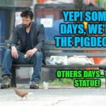 Sad Keanu Meme | YEP! SOME DAYS, WE'RE THE PIGDEON... OTHERS DAYS...THE STATUE! | image tagged in memes,sad keanu | made w/ Imgflip meme maker