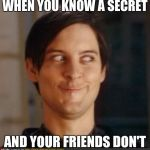 That look you give your friend | WHEN YOU KNOW A SECRET AND YOUR FRIENDS DON'T | image tagged in that look you give your friend | made w/ Imgflip meme maker