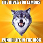 Courage Wolf Meme | LIFE GIVES YOU LEMONS PUNCH LIFE IN THE DICK | image tagged in memes,courage wolf | made w/ Imgflip meme maker