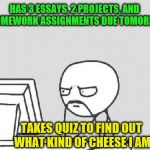 I have my priorities | HAS 3 ESSAYS, 2 PROJECTS, AND 4 HOMEWORK ASSIGNMENTS DUE TOMORROW TAKES QUIZ TO FIND OUT WHAT KIND OF CHEESE I AM | image tagged in memes,computer guy,homework,quiz,priorities | made w/ Imgflip meme maker